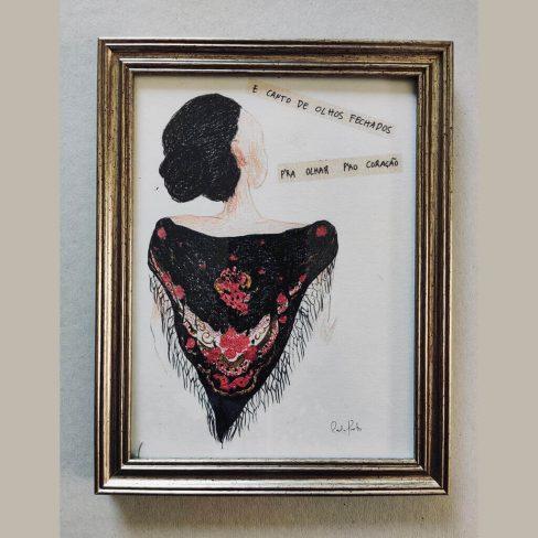 """Desenho """"E canto de olhos fechados pra olhar pró coração"""" uma ilustração, evocando a música 'Fadista Louco' de Amália Rodrigues."""