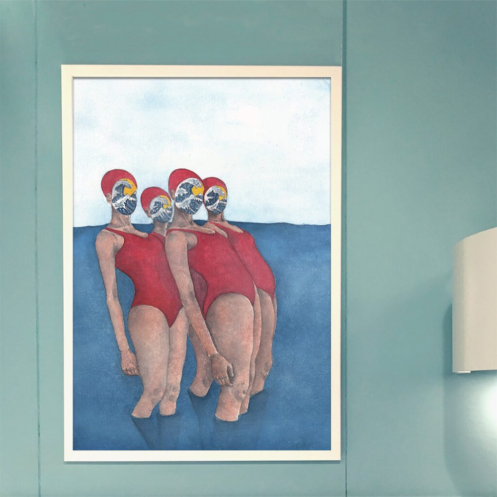 Art print 'Swimmers . Dive together'
