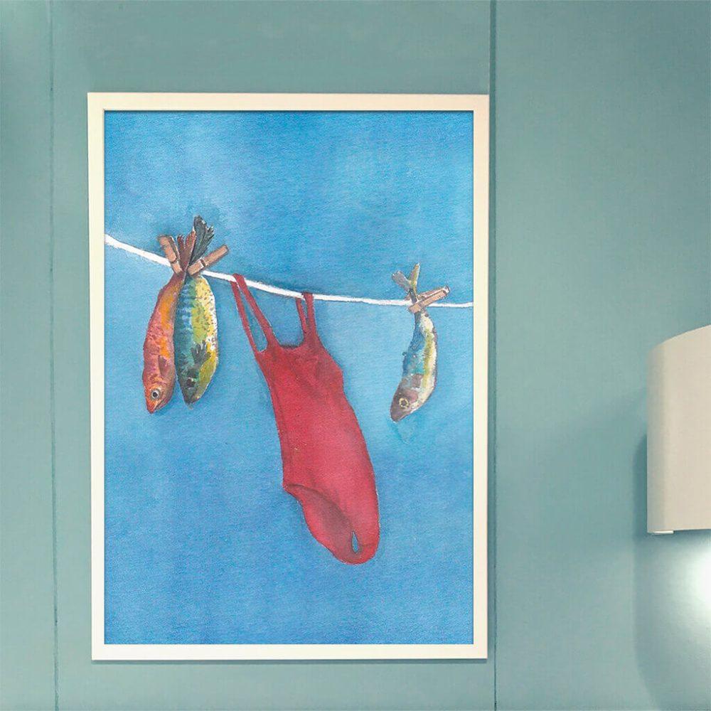 Art print 'Swimmers . Secar ao sol'