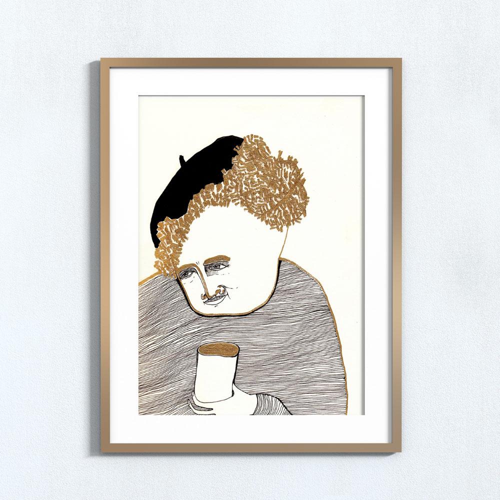 Ilustração Copo de ouro . Art print