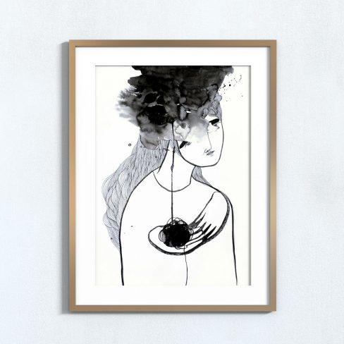 Ilustração Fio do pensamento . Art print