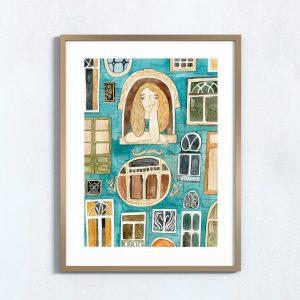 Ilustração art print 'À janela'
