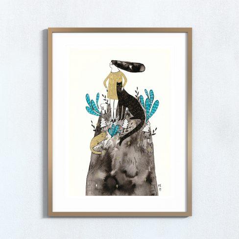 Ilustração art print 'Rapariga numa colina'