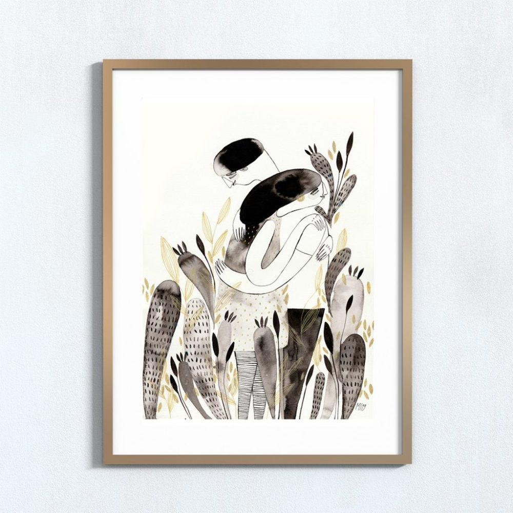 Ilustração 'Abraço'. Art print 2020.