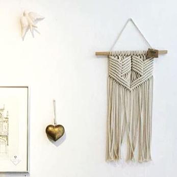 Wall art em macramé de algodão