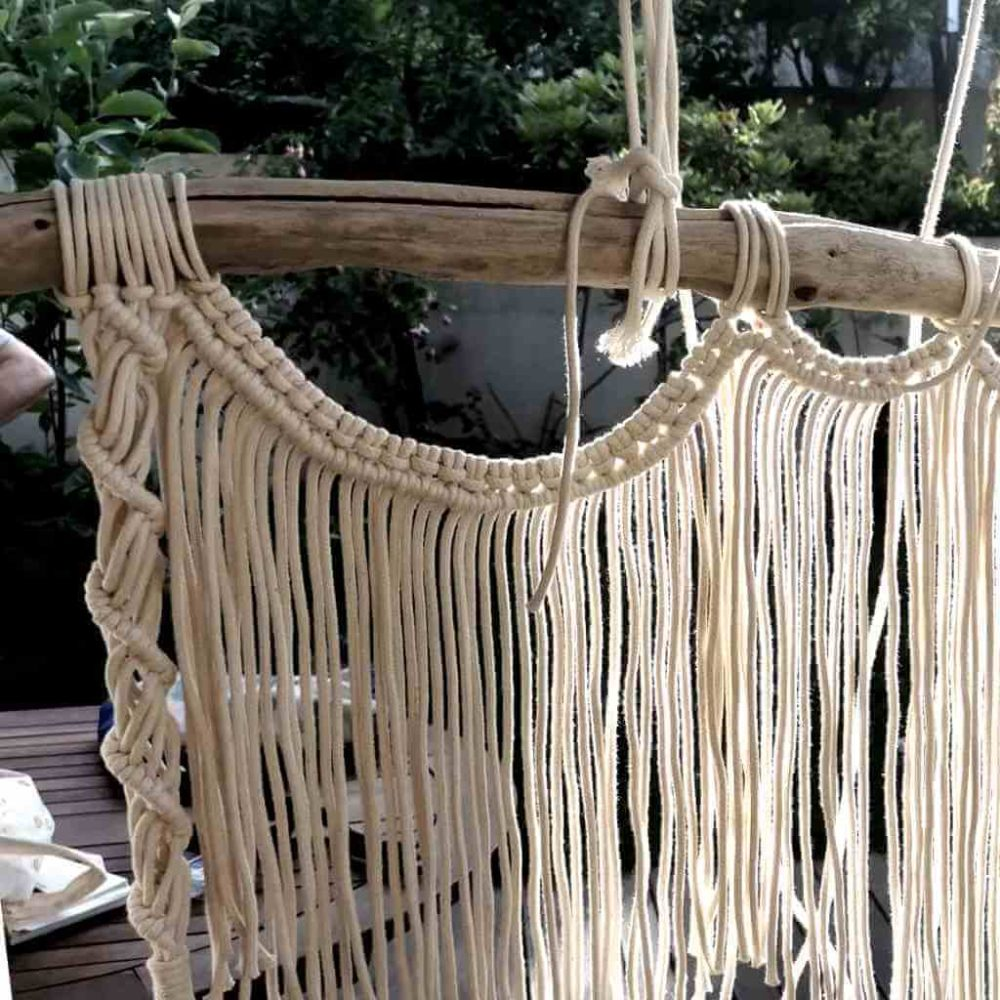 Decoração de parede elaborada em Macramé com corda de algodão